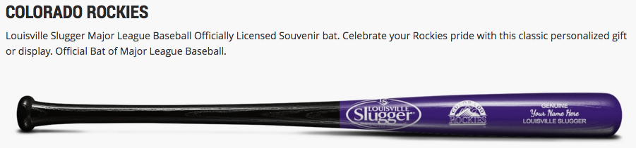 Louisville Slugger Custom Rockies MLB Special Occasion Souvenir Collectible Bat